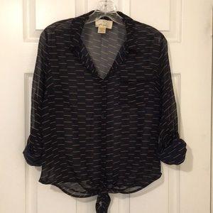 Liberty Love cuffed-sleeve blouse